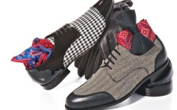 From left MOSCHINO&#8217s black-and-white check cap-toe HARRYS OF LONDON&#8217s herringbone oxford