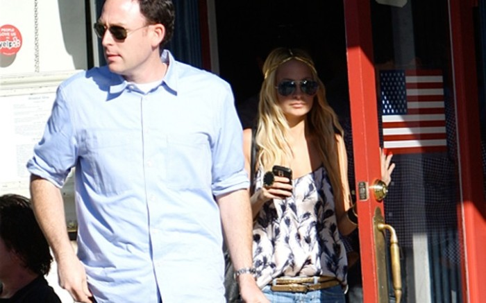 Rick Cytrynbaum president of Modern Vintage with Nicole Richie outside La Conversation Caf&#233 in Los Angeles