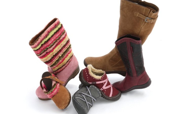From left SANITA&#8217s colorful pile-trimmed boot and clog athletic-inspired slip-ons by J-41 ECCO&#8217s Western-infl uenced boots