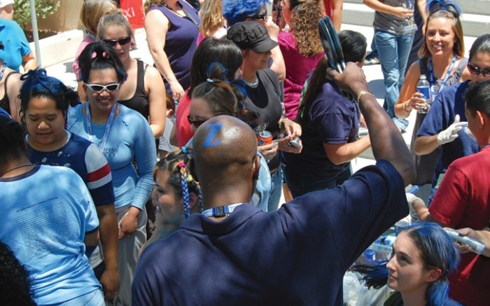 The crowd at the annual Bald Blue & Tattooed event