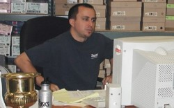 Nick Swinmurn at his desk in the early days of Zappos