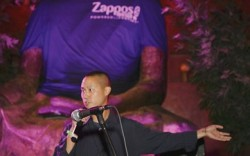 CEO Tony Hsieh welcomes guests to the Tao nightclub in 2007