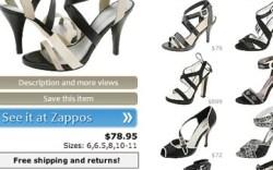 A page from the new search site Explorezapposcom
