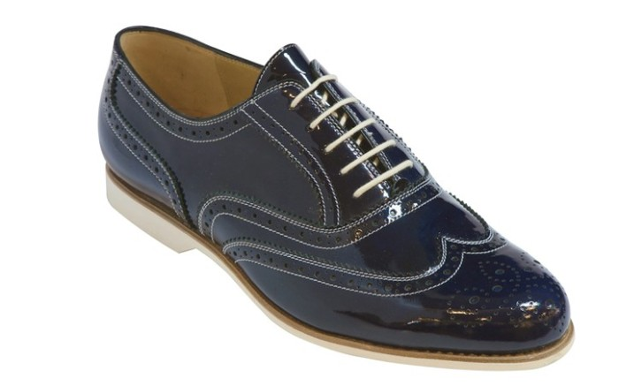 Lorenzo Banfi navy patent leather wingtips with white soles white contrast stitching and white laces
