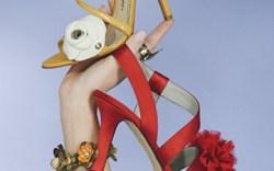 CHARLES JOURDAN&#8217s stiletto sandal with patent flower VIA SPIGA&#8217s satin pompon sandal Bracelet by Miriam Haskell ring by Mars & Valentine