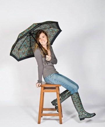 English safari-print boots and umbrella