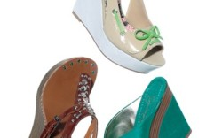 Clockwise from top  HARAJUKU LOVERS&#8217 patent boat shoe-inspired wedge  JESSICA SIMPSON&#8217s wooden wedge slip-on NOMAD&#8217s  embellished sandal with stacked wedge