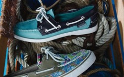 From top TIMBERLAND&#8217s red patent slip-on SEBAGO&#8217s blue-and-navy boat shoe SPERRY TOP-SIDER&#8217s paisley-print shoe