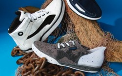 Clockwise from top ROCKPORT&#8217s navy athletic style for men COLUMBIA&#8217s lace-up look PUMA&#8217s high-top men&#8217s sneaker