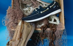 From top SPERRY TOP-SIDER&#8217s three-color boat shoe SEBAGO&#8217s classic men&#8217s boat silhouette TIMBERLAND&#8217s burnished double-eyelet style