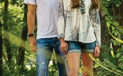 On Her BERNARDO&#8217s fringe gladiator sandals Shirt by Rebecca Taylor shorts by Citizens of Humanity ring  by Amanda Rudey earrings by Gara Danielle necklace by Flutter On Him TOMS&#8217 canvas  slip-ons Shirt and jeans by Joe&#8217s Jeans