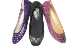 From left WANTED&#8217s  metallic studded ballet flat REPORT 2&#8217s suede leather flat with grommets SEYCHELLES&#8217 embossed studded flat