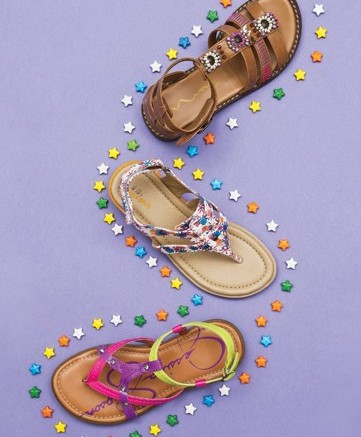 From top NINA&#8217s beaded and embroidered sandal printed thong by ROC-A-BOUTS  JESSICA SIMPSON&#8217s neon- colored thong style