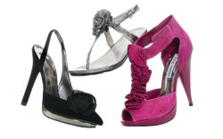 From left GUESS BY  MARCIANO&#8217s stiletto slingback  ME TOO&#8217s metallic embellished sandal STEVE MADDEN&#8217s  T-strap pump