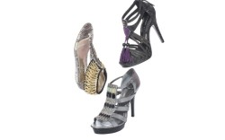 Clockwise from top CHINESE LAUNDRY&#8217s embossed sandal with fringe tassels BCBG GENERATION&#8217s gladiator with jeweled vamp BEBE&#8217s embossed sandal with zipper