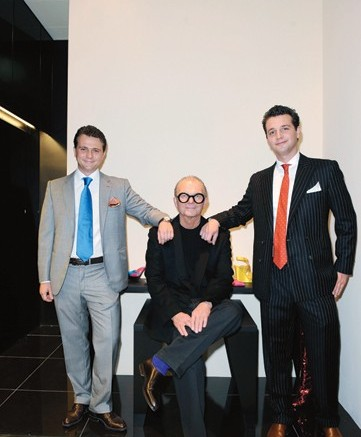 Walter Steiger flanked by sons Giulio left and Paul