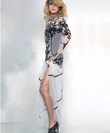 Jonathan Kelsey&#8217s sheer meshand-patent leather booties Dress by Temperley London necklace and cuff by Dannijo