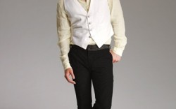 Fratelli Rosetti&#8217s canvas loafers Vest shirt and pants by John Varvatos hat by Zegna