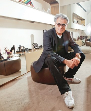 Giuseppe Zanotti photographed for FN in his Milan showroom