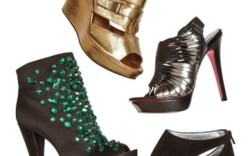 Clockwise from top left Seven For All Mankinds suede bootie with side cutouts Paris Hiltons fishtail slingback bootie Report Signatures jeweled satin ankle boot Tashkent By Cheyennes metallic wedge with buckles
