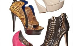 Clockwise from top Raphael Youngs leather platform bootie Boutique 9s cage bootie Casadeis platform with curved heel Cleo Bs wedge with metallic cut-outs