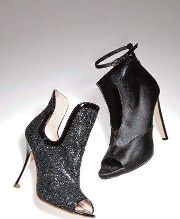 Jerome C Roussesaus glittering cut-away evening bootie and Tania Spinellis satin heel with ankle strap