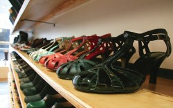 The extensive shoe display at Soula