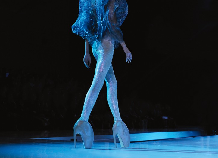 Alexander McQueen Armadillo shoes on the runway.
