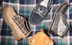 Clockwise from top SPERRY TOP-SIDER&#8217s boat shoe lace-up boot with plaid panels by COLE HAAN TIMBERLAND&#8217s burnished leather ankle boot lug-sole laceup with plaid accents by JEEP