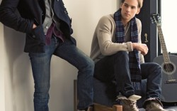 On Brian left VINTAGE SHOE CO&#8217s boots Boss Orange jacket Paul Smith sweaterBen Sherman shirt Rock & Republic jeans On Ryan right J SHOES&#8217 boots Sweater and pants by Theory