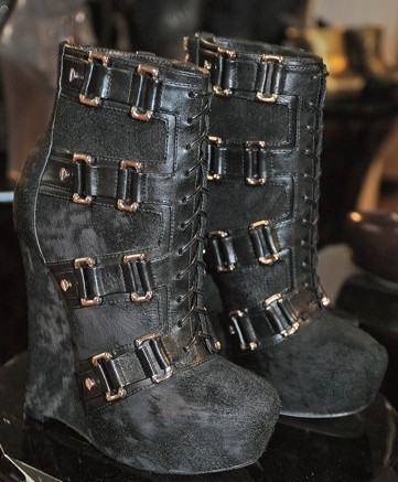 Alejandro Ingelmo&#8217s shaved ponyhair wedge boots with buckles