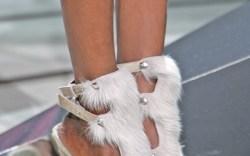 Halston&#8217s pony-hair platform sandals with covered vamp