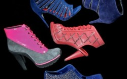 Clockwise from top right Vigoss velvet cut-out bootie with metallic trim Kelsi Dagger&#8217s lace-up studded slingback bootie Ed Hardys studded velvet ankle bootie DKNYs patent and suede lace-up boot with rubber sole Minxs caged peep-toe bootie