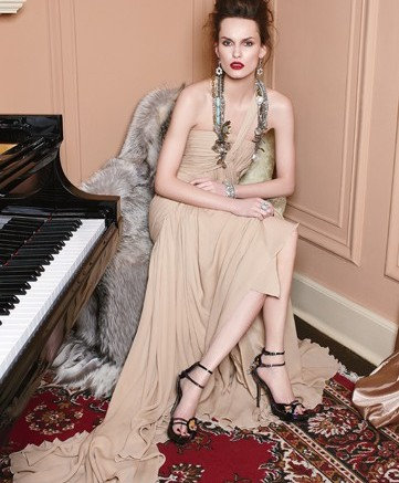 VOUELLE&#8217s patent embellished evening sandals Dress by Elie Saab fur by Helen Yarmak necklace by Miriam Haskell earrings by Lee Angel