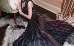 GIUSEPPE ZANOTTI&#8217s crystallized pumps Dress by Elie Saab furs by Helen Yarmak necklace by Lee Angel