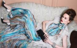 RODO&#8217s two-tone crystal embellished pumps Dress by Carlos Miele fur vest by Helen Yarmak cuff by Lee Angel