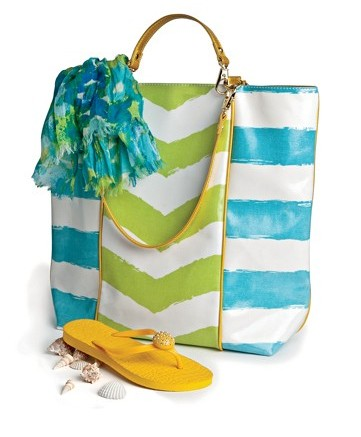 Lindsay Phillips is rolling out a new line of flip-flops totes and scarves in an array of stripes floral prints and metallics