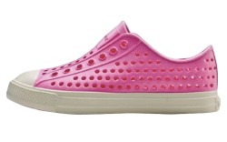 Native which reinterprets classic shoe silhouettes such as vulcanized sneakers in ultra-lightweight EVA is adding kids&#8217 sizes in bright colors such as yellow pink and red