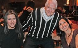 Sonny Shar flanked by Foot Petals&#8217 Marge Floris and Tina Aldatz