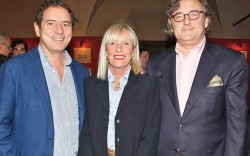 Diego Rossetti with Luisa and Alain Baume at the Footwear News cocktail party