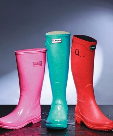 From left Tretons hot-pink pull-on boot Hunters teal equestrian style Le Chameaus red buckle boot