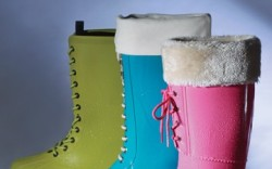 From left Natives apple green laceup with removable lining Isle Jacobsons teal boot with removable cotton lining Muck Boot Co&#8217s pink faux fur-lined boot