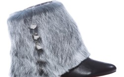 Ankle bootie with studded fur cuff by BE & D