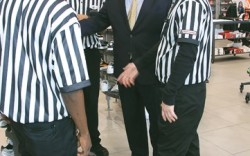 Foot Locker CEO Ken Hicks talks strategy with Foot Locker associates at the 34th Street store in New York