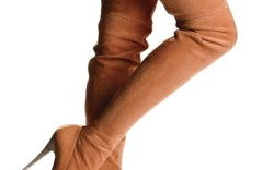 Barbara Bui&#8217s thigh-high sand-colored suede boots with stacked heels skirt by Rebecca Taylor tights by Falke
