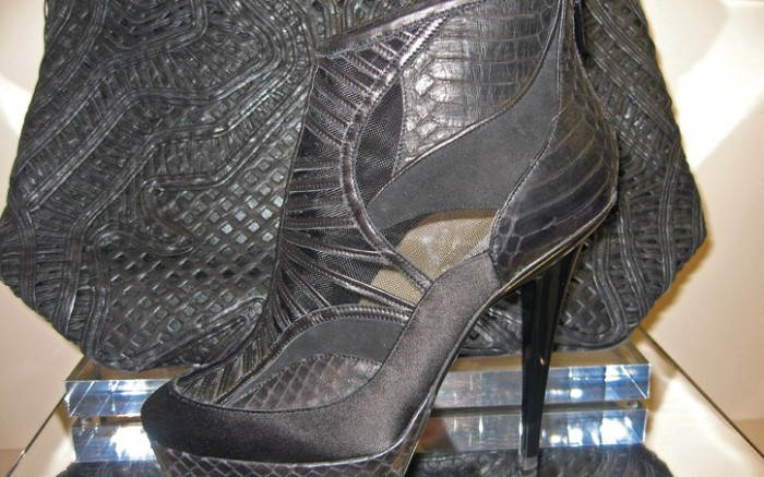Jimmy Choo&#8217s mesh satin and snakeskin bootie