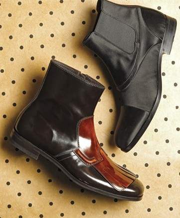 From top CALVIN KLEINs satin low-cut bootie and PRADAs kiltie ankle boot