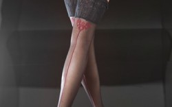 FALKE&#8217s over-the-knee stockings with lace garter top and red seams