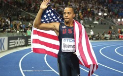 Saucony is banking on sprinters including Wallace Spearmon Jr to reach younger consumers