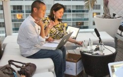 The scene at the virtual happy hour with Tony Hsieh